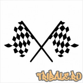 Sticker cu doua steaguri de curse