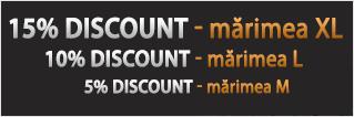 15% discout pentru marimea XL, 10% discount pentru marimea L, 5% discount pentru marimea M
